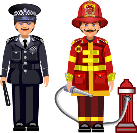 bombero: El oficial de polic�a y de bomberos