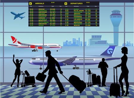 gente aeropuerto: Terminal de pasajeros del aeropuerto. Llegada y salidas Internacional Vectores