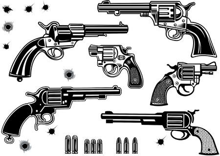 pistolas: Armas de fuego: Conjunto de la colección del revólver de bala. Agujero de bala
