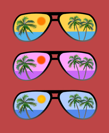 sun glasses with tropical beach reflection