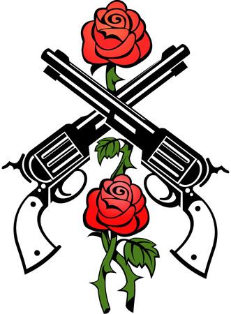 geweren en rozen