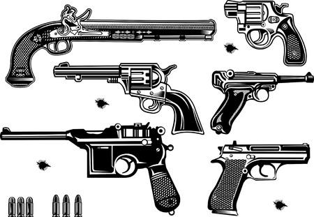 pistolas: Armas de fuego: pistolas antiguas y modernas y revólveres