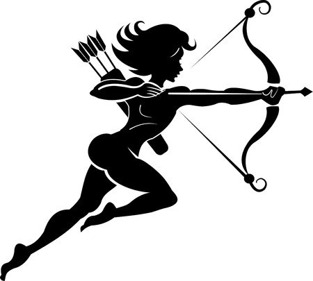 end of the world: Woman hunter tattoo. Bow and arrow