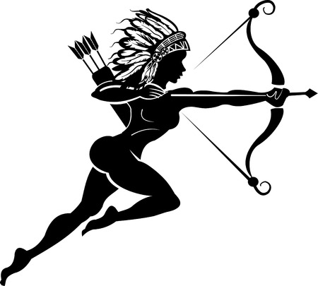 indian weapons: Indian Woman hunter tattoo. Bow and arrow