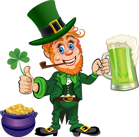 St. Patrick's Day, cheerful Leprechaun with mug of beer. Vector image. 矢量图像