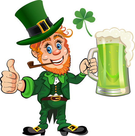 St. Patrick's Day, cheerful Leprechaun with mug of green beer