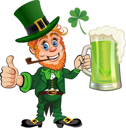 leprechaun background: St. Patricks Day, cheerful Leprechaun with mug of green beer Illustration