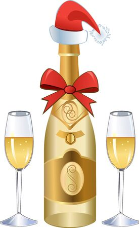 new years eve: New Years Eve Champagne Illustration