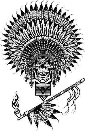 Indian skull smoking peace pipe Illustration