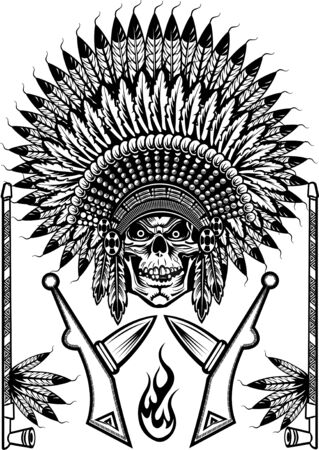 tomahawk: Indian chief skull with peace pipe and tomahawk of war