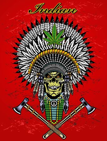 indian chief: Indian chief skull with peace pipe and tomahawk of war