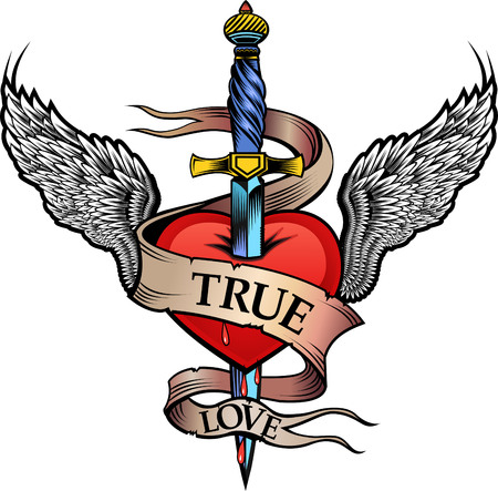 dagger: Heart with Wing and Dagger Illustration