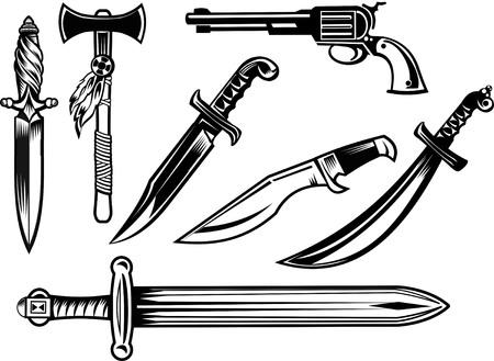 tomahawk: Knife, dagger, sword and tomahawk Illustration