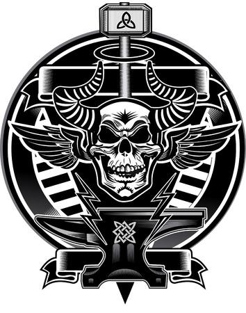 wicca: Thors Hammer & Skull