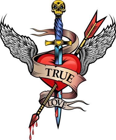 Vleugel en het hart pijl Stockfoto - 49841927