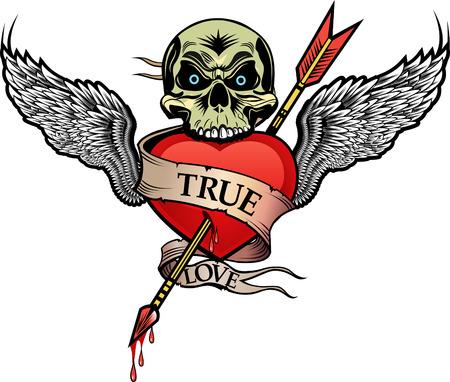 dessin coeur: aile et coeur flèche Illustration