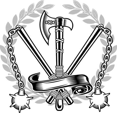 halberd, battle ax, mace, shield Illustration