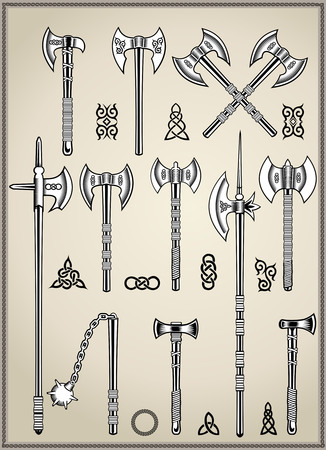 halberd: cold medieval weapons set warriors halberd and ax Illustration