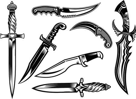 Knife, dagger, sword and tomahawk Ilustracja
