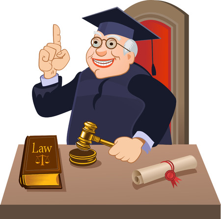 Judge with gavel makes verdict Çizim