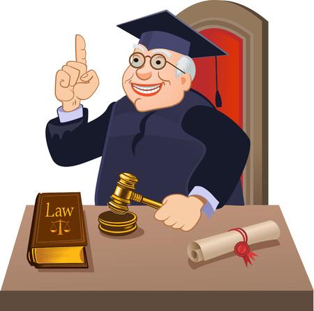verdict: Judge with gavel makes verdict Illustration