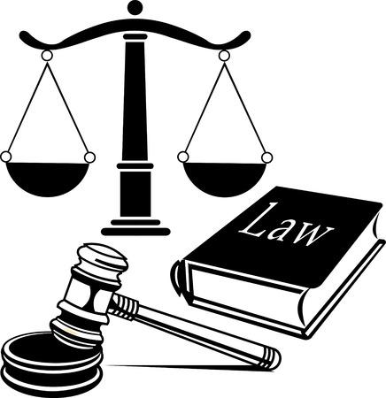 Justitie schaal advocatenkantoor Stock Illustratie
