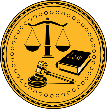 legality: Law firm justice scale and gavel
