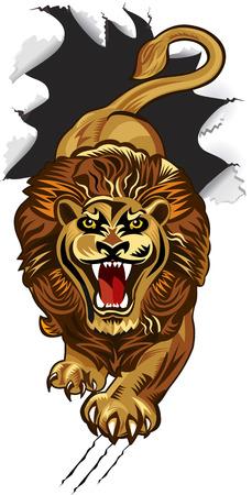 breakthrough: Lion breakthrough Paper Illustration