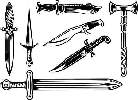 Knife, dagger, sword and tomahawk 矢量图像