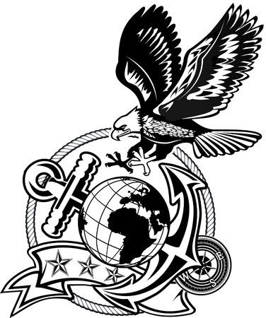 アメリカン ・ イーグル アンカーとグローブ