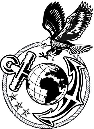 banderas america: ancla águila americana y el globo Vectores