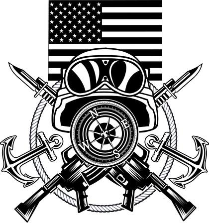 corps: marine corps anchor and USA flag Illustration