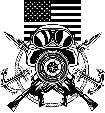 marine corps anchor and USA flag Illustration