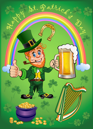 irish beer label: Leprechaun and Saint Patricks Day symbols set Illustration