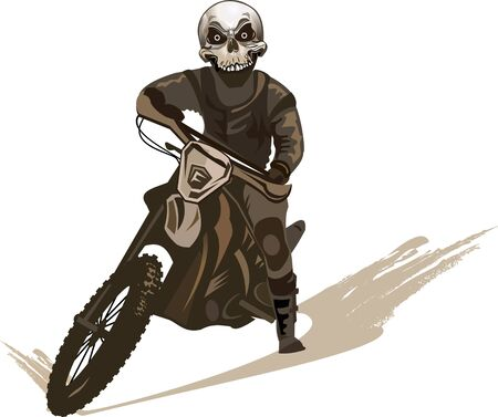 Skull man on the motorbike