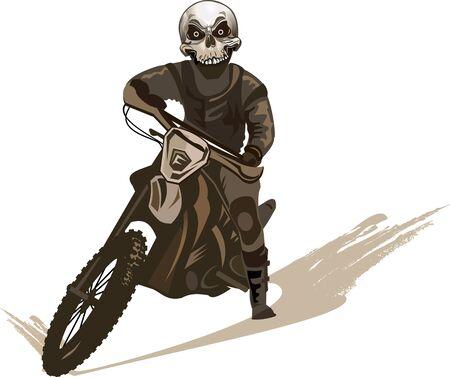 dangerous man: Skull man on the motorbike