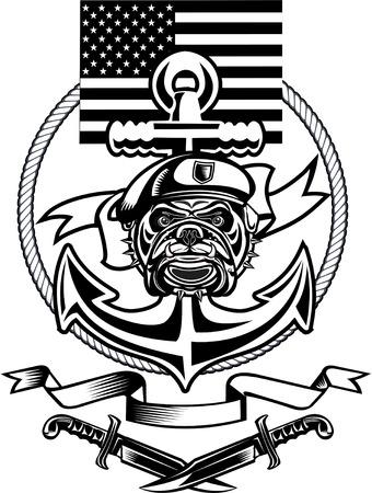 corps: military Bulldog and crossing rifles