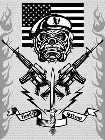 special forces: military Bulldog and crossing rifles