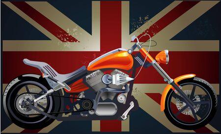 iron fun: Motorbike and British flag and motorbike