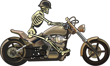 flaming: skeleton on motorcycle
