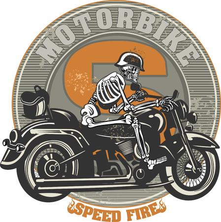 chrome man: Skeleton on Motorbike