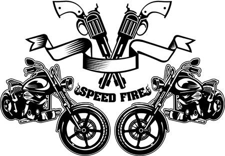 Gun and motorcycle Stock Illustratie