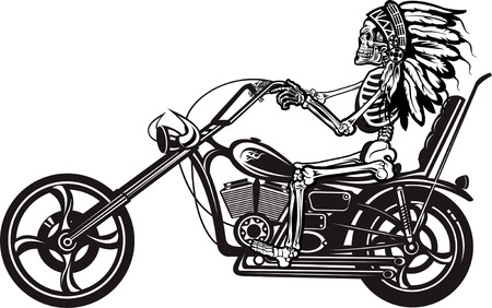 exhaust pipe: Indian Skeleton on Motorbike Illustration