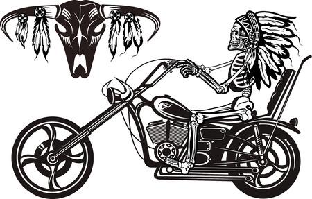 バイクでインドのスケルトン
