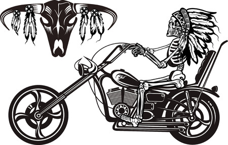 Indian Skeleton on Motorbike 向量圖像