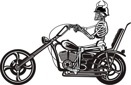 iron fun: Skeleton on Motorbike