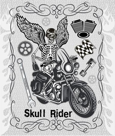 motorcycle wheel: skeleton on motorcycle