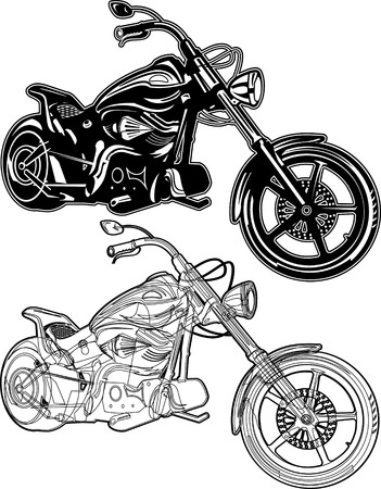 chrome man: two motorcycles Illustration