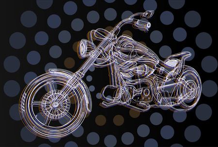 chrome man: motorcycle color line silhouette