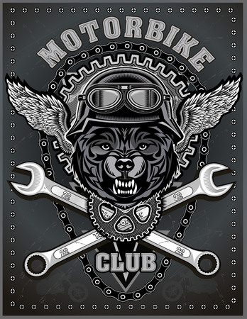 vintage Wolf motorcycle label Illustration